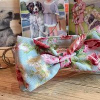 Scrufts' Cherry Blossom Velvet Lined Girly Bow Tie Dog Collar