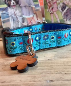 Scrufts' Tiny Garden Floral Velvet Lined Dog Collar in Blue