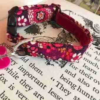 Plum Floral Handmade Corduroy Dog Collar