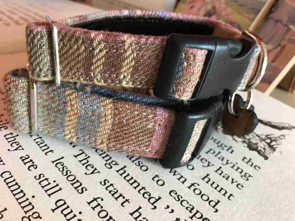 Irish Linen Handmade Dog Collar With Slip On Bandana