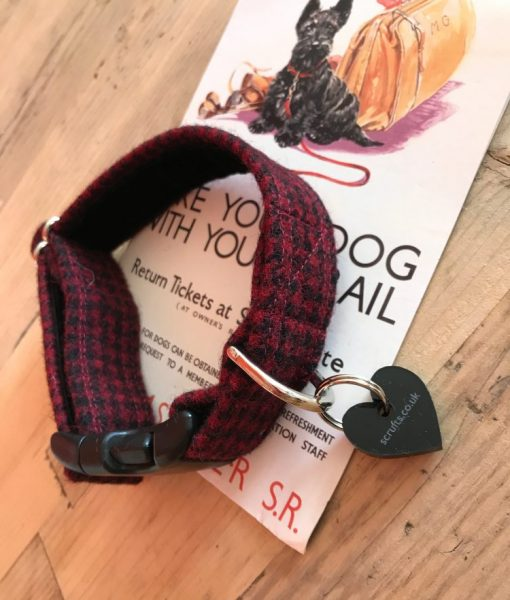 Handmade Tweed Dog Collar and Slip On Bandana