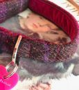 Scrufts' Blackcurrant Velvet Lined Harris Tweed  Collar