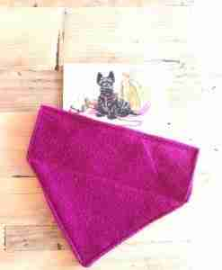 Harris Tweed Slip-on Bandana in Cerise