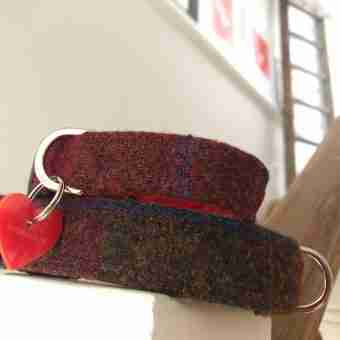 Scrufts' Berry Crumble Velvet Lined Harris Tweed Dog Collar