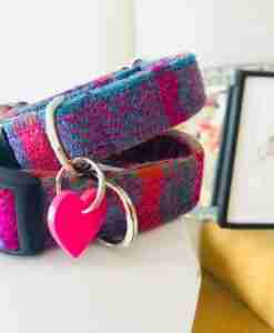 Scrufts' Berry Velvet Lined Harris Tweed Dog Collar
