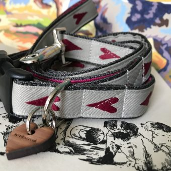 Scrufts' Rhubi Heart Patterened Velvet Lined Dog Collar And Lead