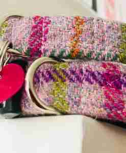 Scrufts' Blush Pink Harris Tweed Velvet Lined Dog Collar