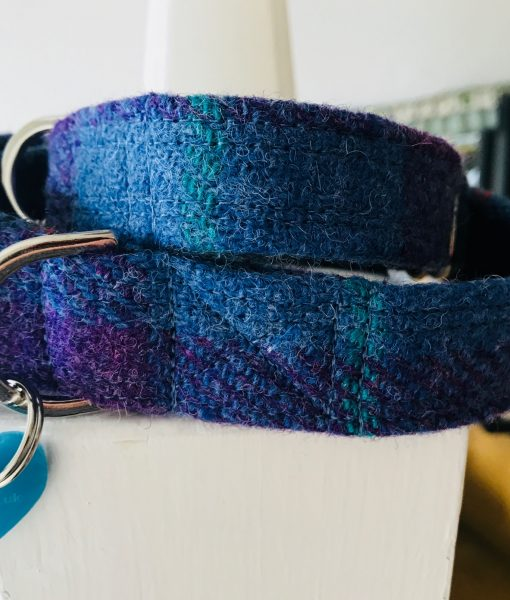 Scrufts' Heather Blue Velvet Lined Harris Tweed Dog Collar
