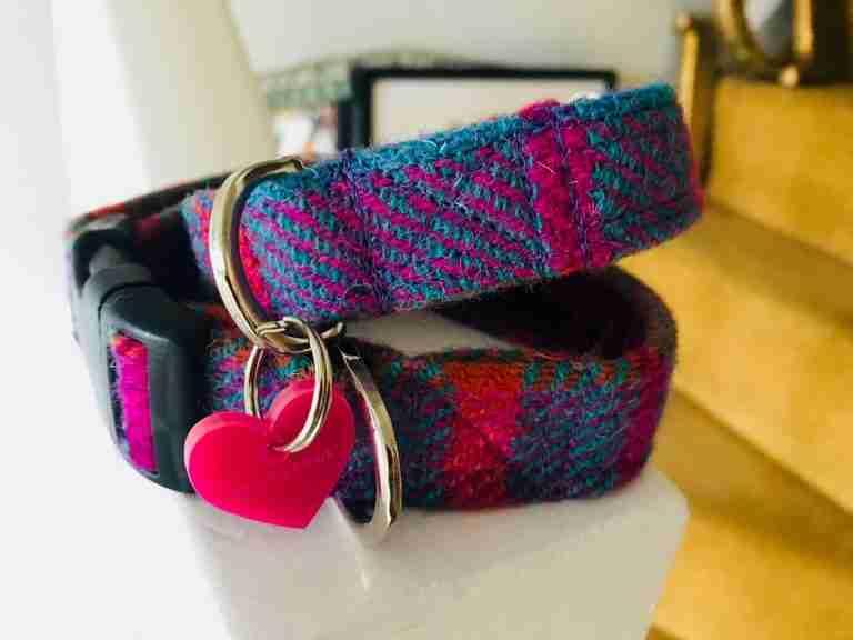 Scrufts' Berry Velvet Lined Harris Tweed Dog Collar
