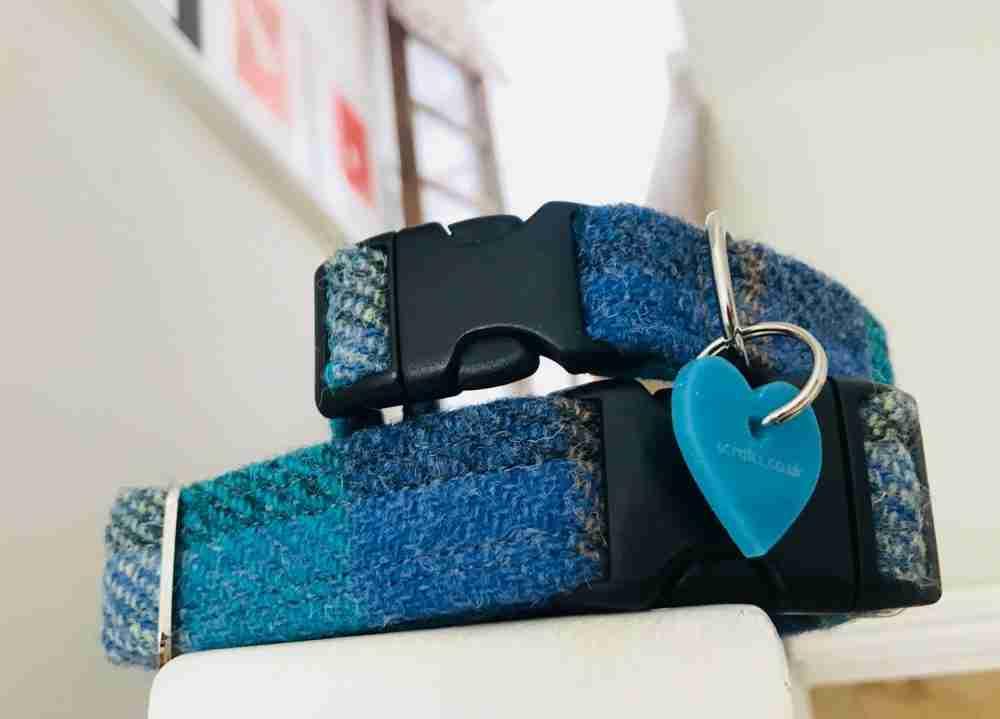 Scrufts' Sea Blue Harris Tweed Velvet Lined Dog Collar