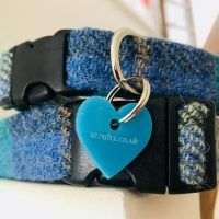 Scrufts' Sea Blue Harris Tweed Velvet Lined Dog Collar
