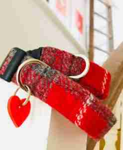 Scrufts' Ruby Red Velvet Lined Harris Tweed Dog Collar