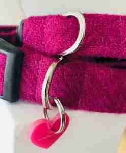 Scrufts' Madge Fuscia Velvet Lined Harris Tweed Dog Collar
