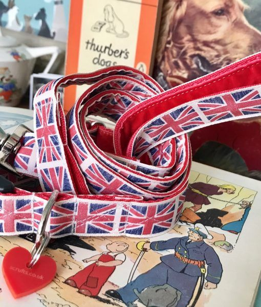 Scrufts Union Jack Dog Collar and Lead By Jingo
