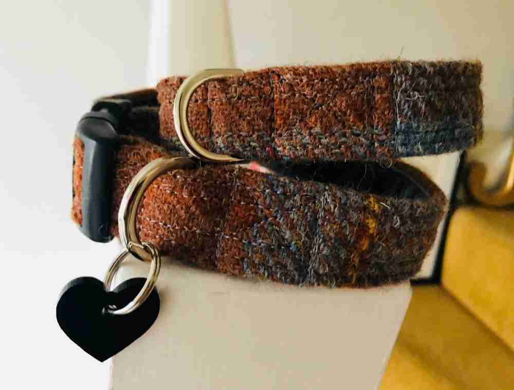 Scrufts' Rusty Velvet Lined Harris Tweed Dog Collar