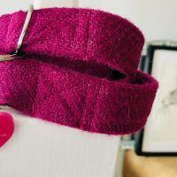 Scrufts' Madge Fuscia Velvet Lined Harris Tweed Dog Collar