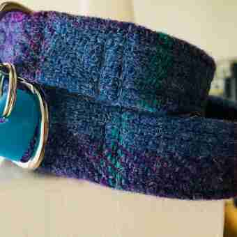 Scrufts' Heather Blue Velvet Lined Harris Twwed Dog Collar