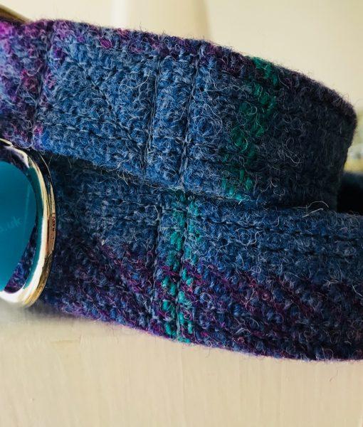 Scrufts' Heather Blue Velvet Lined Harris Twwed Dog Collar