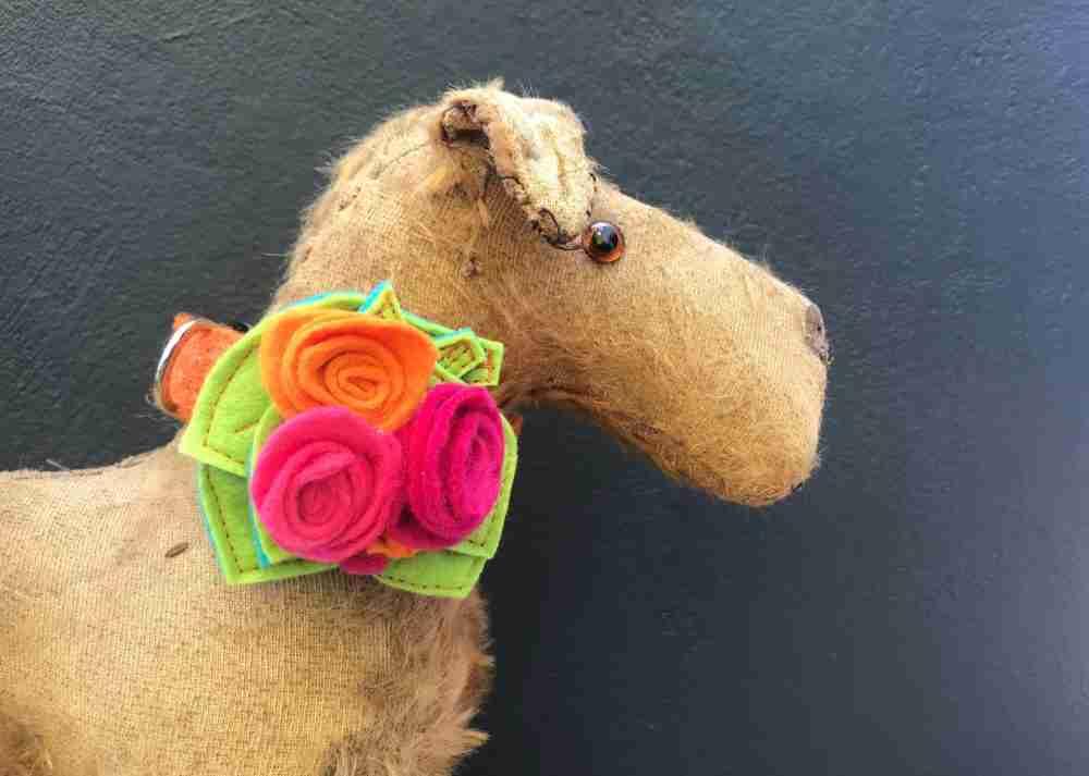 950257d6c61f Orange Marigold Harris Tweed Dog Collar with Seperate Rose Posy ...