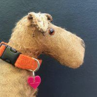 Scrufts Orange Marigold Harris Tweed Dog Collar