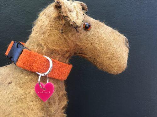 Scrufts Orange Marigold Harris Tweed Dog Collar