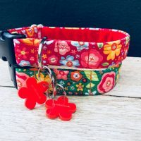 Scrufts Tansy Rosey Red Vintage Floral Dog Collar
