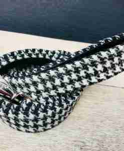 Scrufts Mono Harris Tweed Dogtooth Dog Lead with Velvet Lining