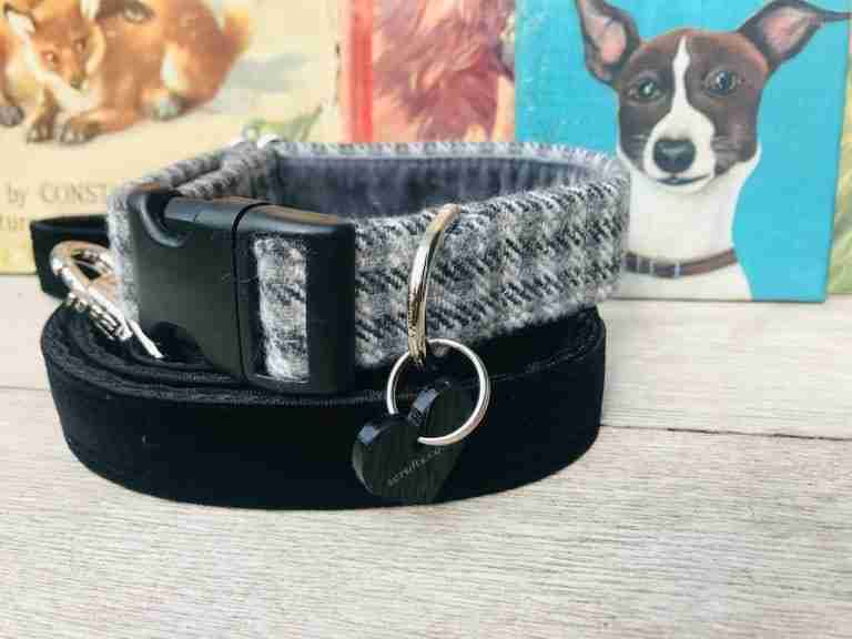 Scrufts Charlie Boy Grey Tweed Dog Collar with Black Velvet Lead
