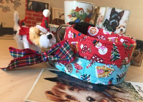 Scrufts Festive Christmas Dog Collar in Red or Ice Blue