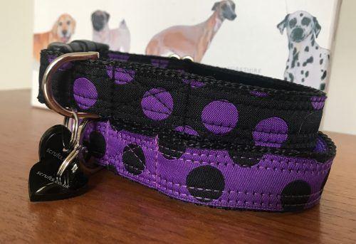 Scrufts Charleston Black & Purple or Purple & Black Polka Dot Dog Collar
