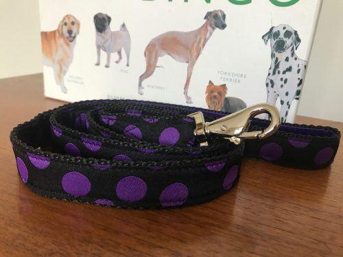 Scrufts Charleston Black & Purple or Purple & Black Polka Dot Dog Lead