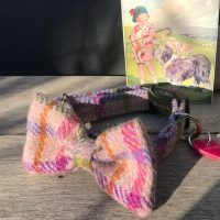 Scrufts Blush Pink Harris Tweed Bow Tie Dog Collar