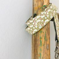Scrufts Tilly Green Floral Dog Lead with Pink Velvet Lining