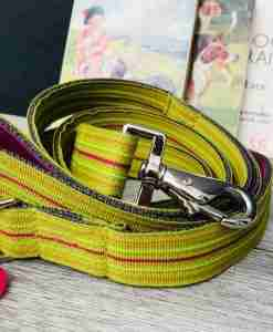 Scrufts Roobarb Lime Striped Dog Collar and Lead with Velvet Lining