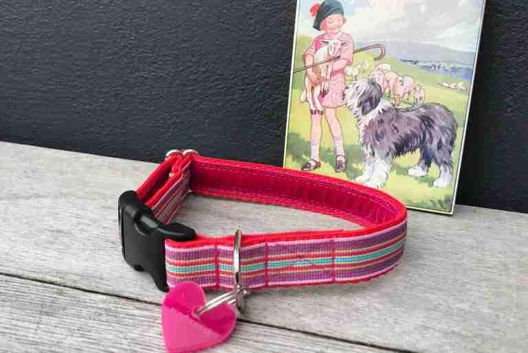 Scrufts Mivvi Pink Striped Dog Collar with Velvet Lining