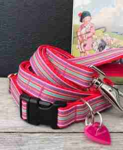 Scrufts Mivvi Pink Striped Dog Collar and Lead with Velvet Lining