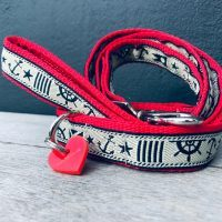 Scrufts Skipper Nautical Dog Collar and Lead with Velvet Lining