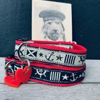 Scrufts Skipper Nautical Dog Collar with Velvet Lining