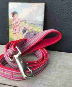 Scrufts Mivvi Pink Striped Dog Lead with Velvet Lining