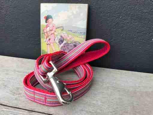 Scrufts Mivvi Pink Striped Dog Lead with Velvet Lining