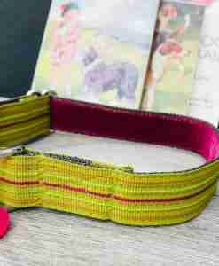 Scrufts Roobarb Lime Striped Dog Collar with Velvet Lining