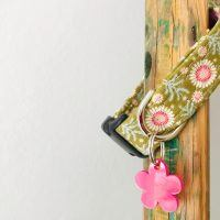 Scrufts Tilly Green Floral Dog Collar with Pink Velvet Lining
