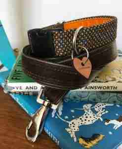 Scrufts Sherlock Tweed Dog Collar with Velvet Lining And Watson Dog Lead