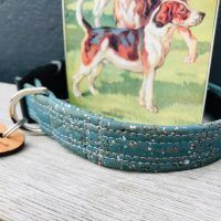 Scrufts Corky Sea Blue and Silver Cork Vegan Dog Collar with Velvet Lining