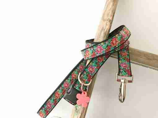 Frida K Floral Dog Collar and Lead with Velvet Lining