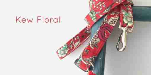 Scrufts' Kew Red Floral Dog Collar and Lead