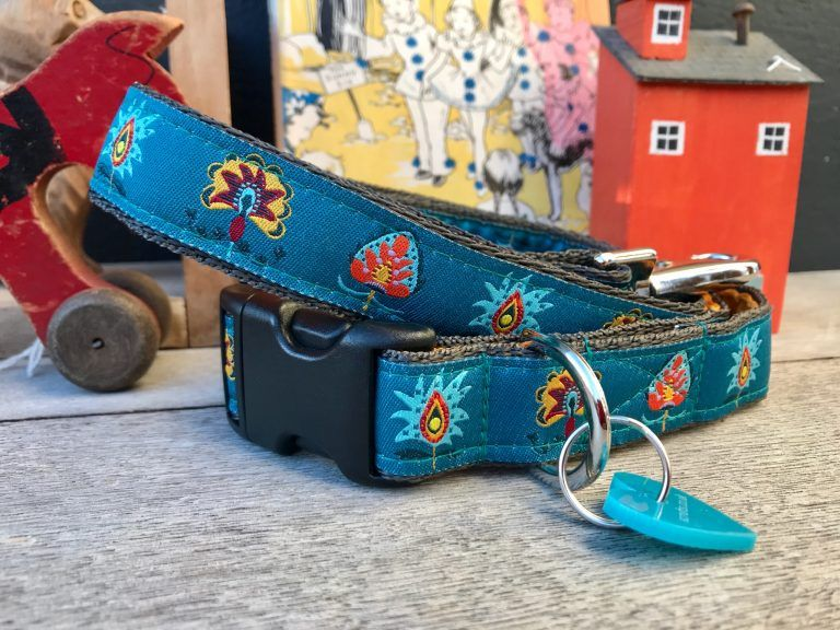 Scrufts Drake Dog Collar and Lead in Teal with Orange Velvet Lining