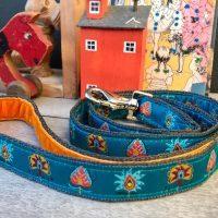 Scrufts Drake Dog Lead in Teal with Orange Velvet Lining