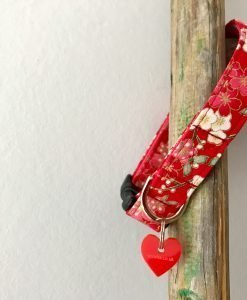 Scrufts Sakura Red Floral Dog Collar