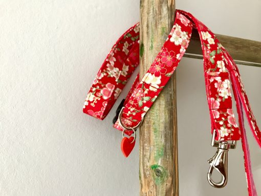 Scrufts Sakura Red Floral Dog Collar and Lead
